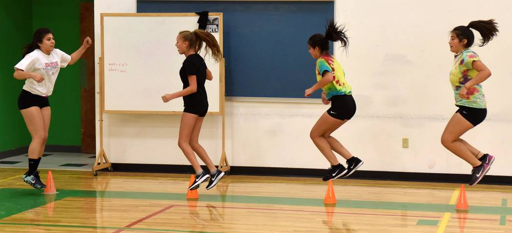 Richard Stephens/Pahrump Valley Times  The Beatty volleyball team hard at work last week during practice. From left to right, Karina Villanueva, Andrea Leon, Aphrodite Salazar and Daisy Reynoso.