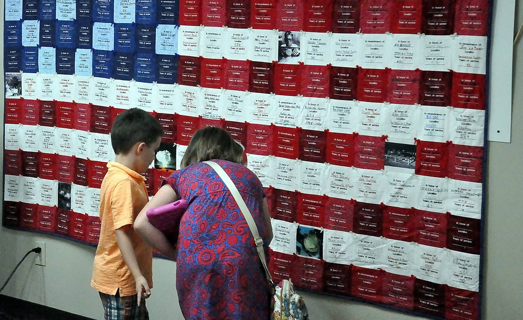 Horace Langford Jr./Pahrump Valley Times A look at the Cold War Patriots event at the Pahrump Senior Center. Since 2011 when the quilt was created, it has been displayed at various locations aroun ...