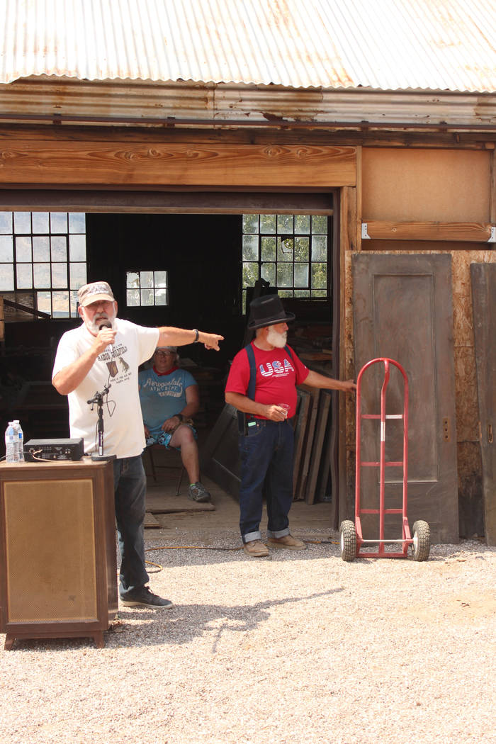 Jeffrey Meehan/Times-Bonanza & Goldfield News  Carl Brownfield of Radio Goldfield/KGFN 89.1 FM auctions doors from the Goldfield Hotel to support the radio station and Opera House. The doors w ...