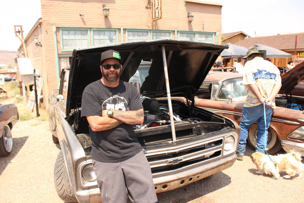 Jeffrey Meehan/Times-Bonanza & Goldfield News  Jeremy Daeseleer, owner of the Hoist House Tavern at 300 N Columbia St. in Goldfield in front of his classic Chevy C10 pickup truck during Goldfi ...