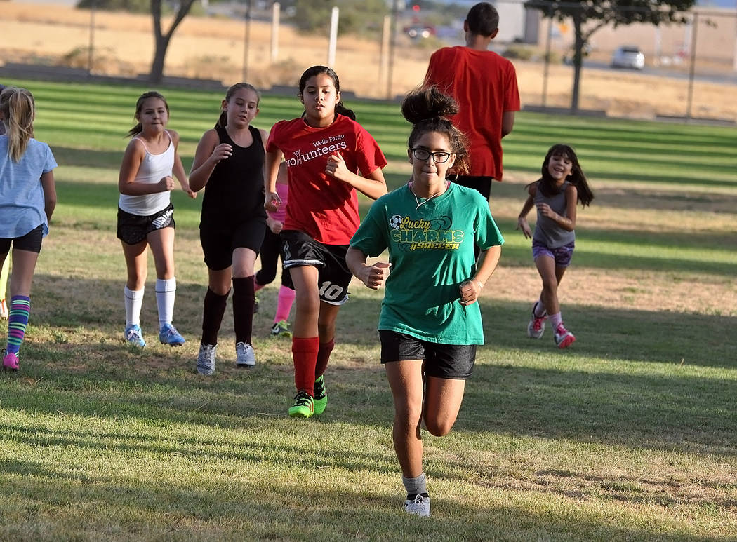 Horace Langford Jr./Pahrump Valley Times  Soccer players, some football players and even basketball players come to the park for three weeks to get ready for fall sports or just to keep in shape.  ...