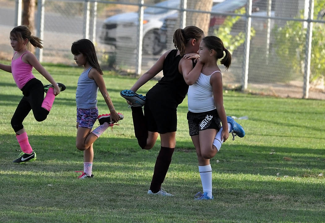 Horace Langford Jr./Pahrump Valley Times  Athletes warm up. At the clinic, no kids are turned away and all ages are welcome.