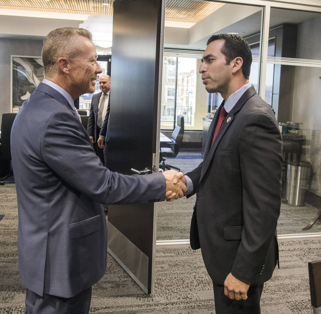 Special to the Pahrump Valley Times - Valley Electric Association CEO Tom Husted greets U.S. Rep. Ruben Kihuen at the Valley Electric Association office in Las Vegas. Kihuen visited Valley Electri ...