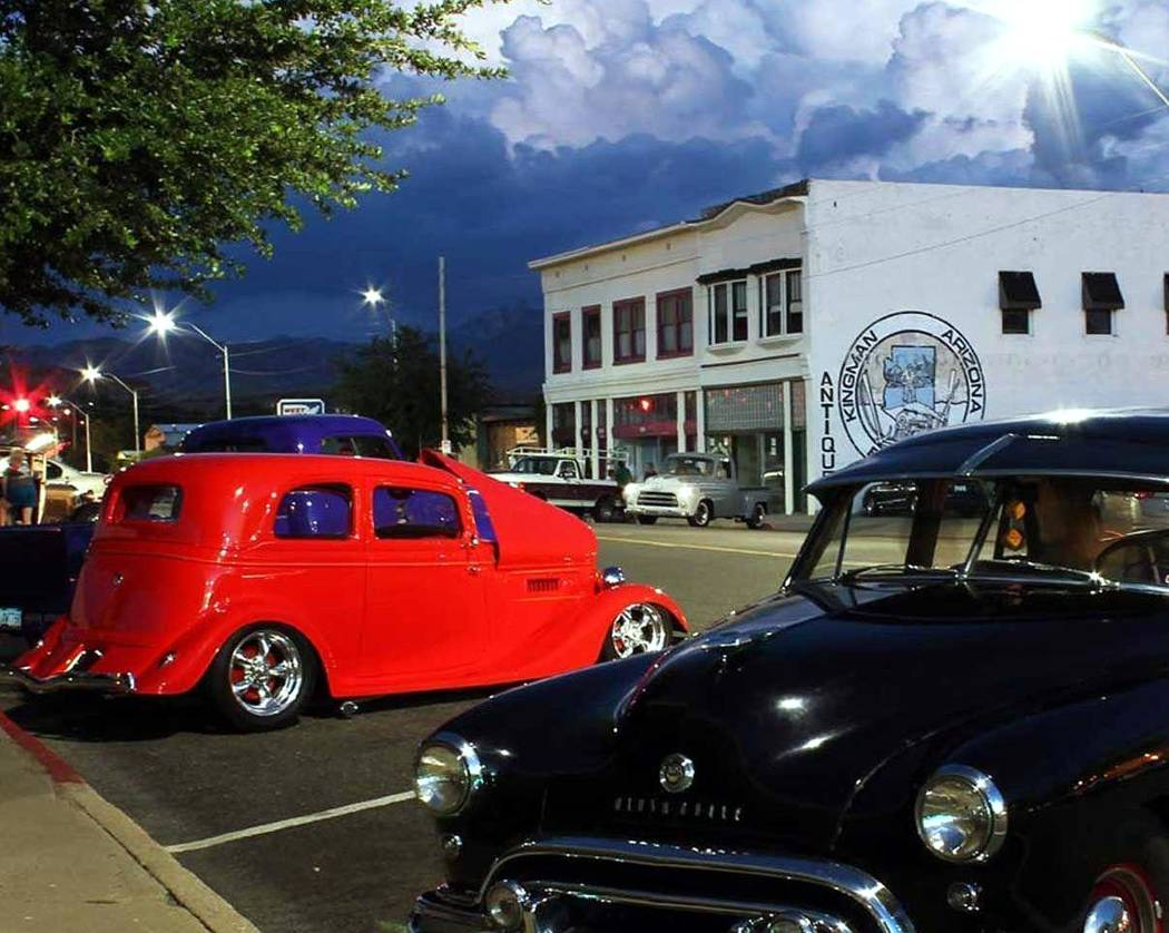 "Gary Bennett/Special to the Pahrump Valley Times In the old part of town on ""Route 66"", there were plenty of vintage cars and a great evening."