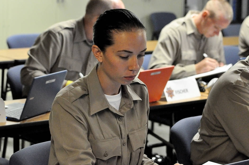 Horace Langford Jr./Pahrump Valley Times  Nye County Sheriff's Office Regional Training Academy recruit Brooke Gentry listens to the Constitutional law class. The academy started on Aug.7 and wi ...