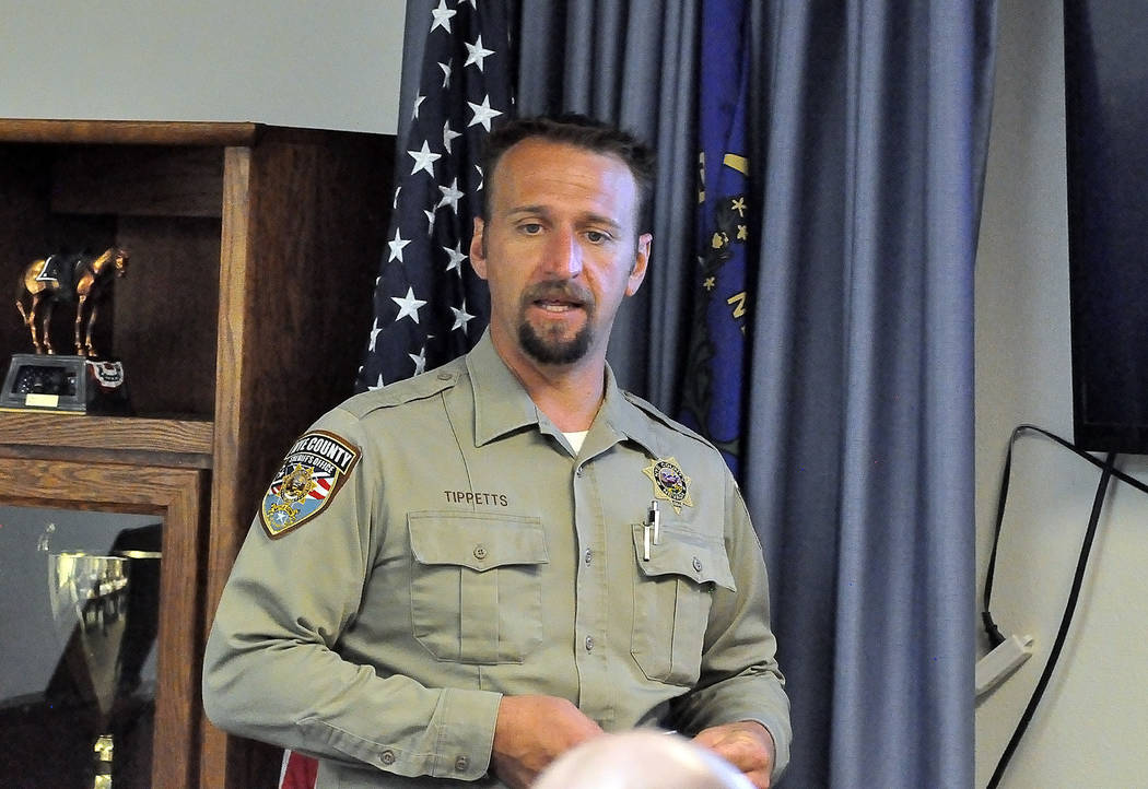 Horace Langford Jr./Pahrump Valley Times  Adam Tippetts, the training coordinator for the Nye County Sheriff's Office Regional Training Academy teaches 12 recruits Constitutional law. The Nye Co ...