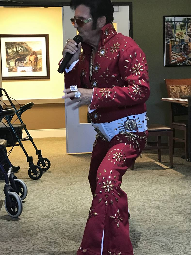 """Jeffrey Meehan/Pahrump Valley Times  Local Elvis impersonator, Johnny V, performs for seniors at the Inspirations Senior Living Center at 901 Honey Suckle St., performing some of the """"King's"""" grea ..."""