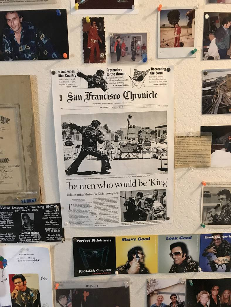 """Jeffrey Meehan/Pahrump Valley Times  Johnny V, a local Elvis impersonator, keeps a collage of his old performances and memories of the """"King"""" on his living room wall. He has worked as an impersona ..."""