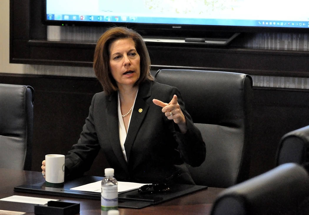 Horace Langford Jr./Pahrump Valley Times  U.S. Sen. Catherine Cortez Masto, D-Nevada, met with Valley Electric Association officials for a closed meeting on Tuesday after the tour of the Valley El ...