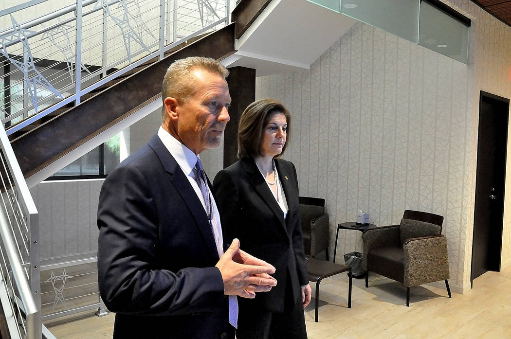 Horace Langford Jr./Pahrump Valley Times  Valley Electric CEO Tom Husted shows U.S. Senator Catherine Cortez Masto, D-Nevada, dispatch center where Valley Electric manages its output loads and mon ...