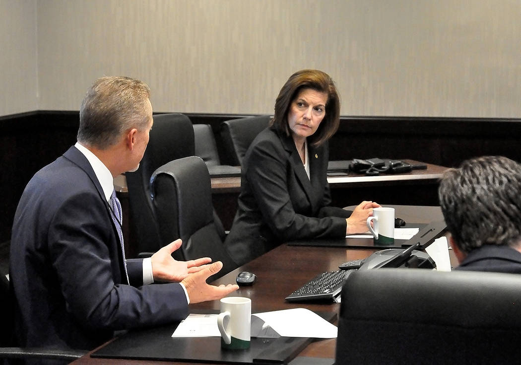 Horace Langford Jr./Pahrump Valley Times  U.S. Sen. Catherine Cortez Masto, D-Nevada, talks to Valley Electric Association CEO Tom Husted during her visit to Valley Electric on Tuesday. Cortez Mas ...