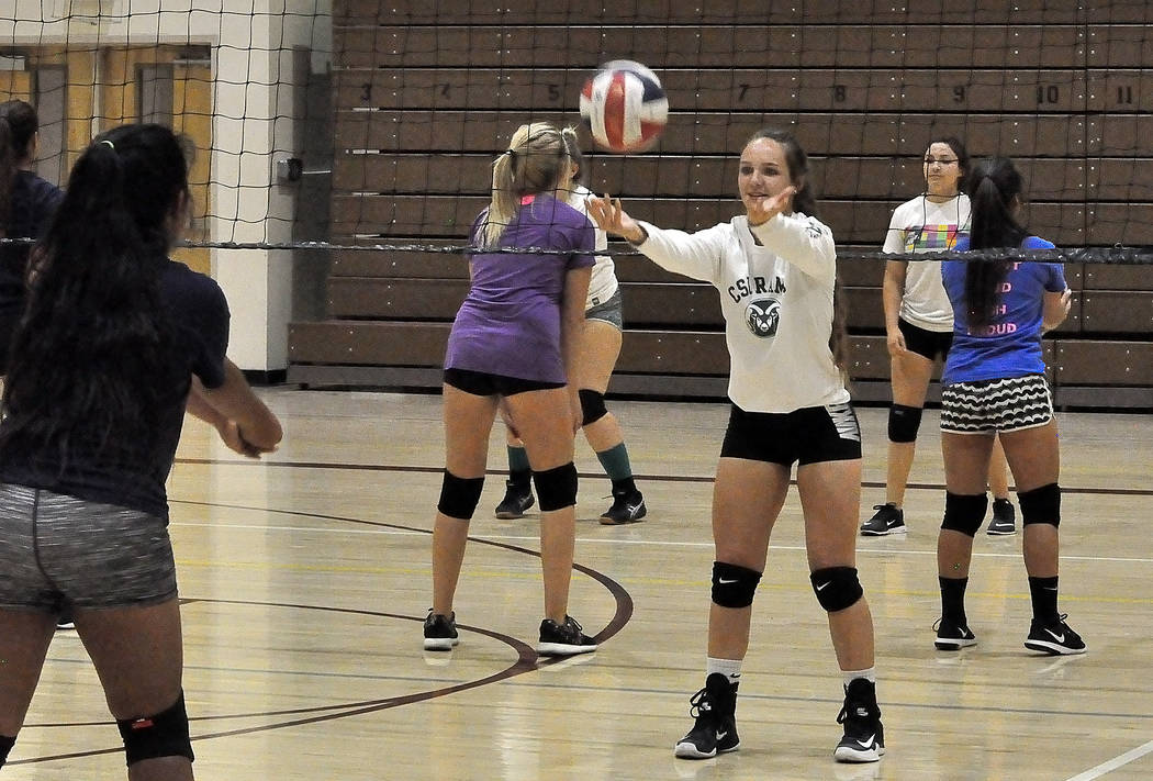 Horace Langford Jr./Pahrump Valley Times  Jackie Stobbe seen at volleyball practice on Monday afternoon. She was a setter last year and will be vital to the Trojans team this year. Stobbe is a jun ...