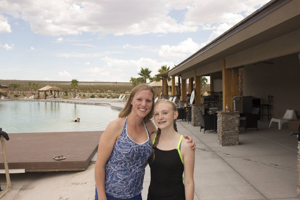 Jeffrey Meehan/Pahrump Valley Times Christy Jacques (left), stands with her daughter McKenna (right), at Jetpack America on Aug. 1, 2017. McKenna got to take a jet board out for a spin after winni ...