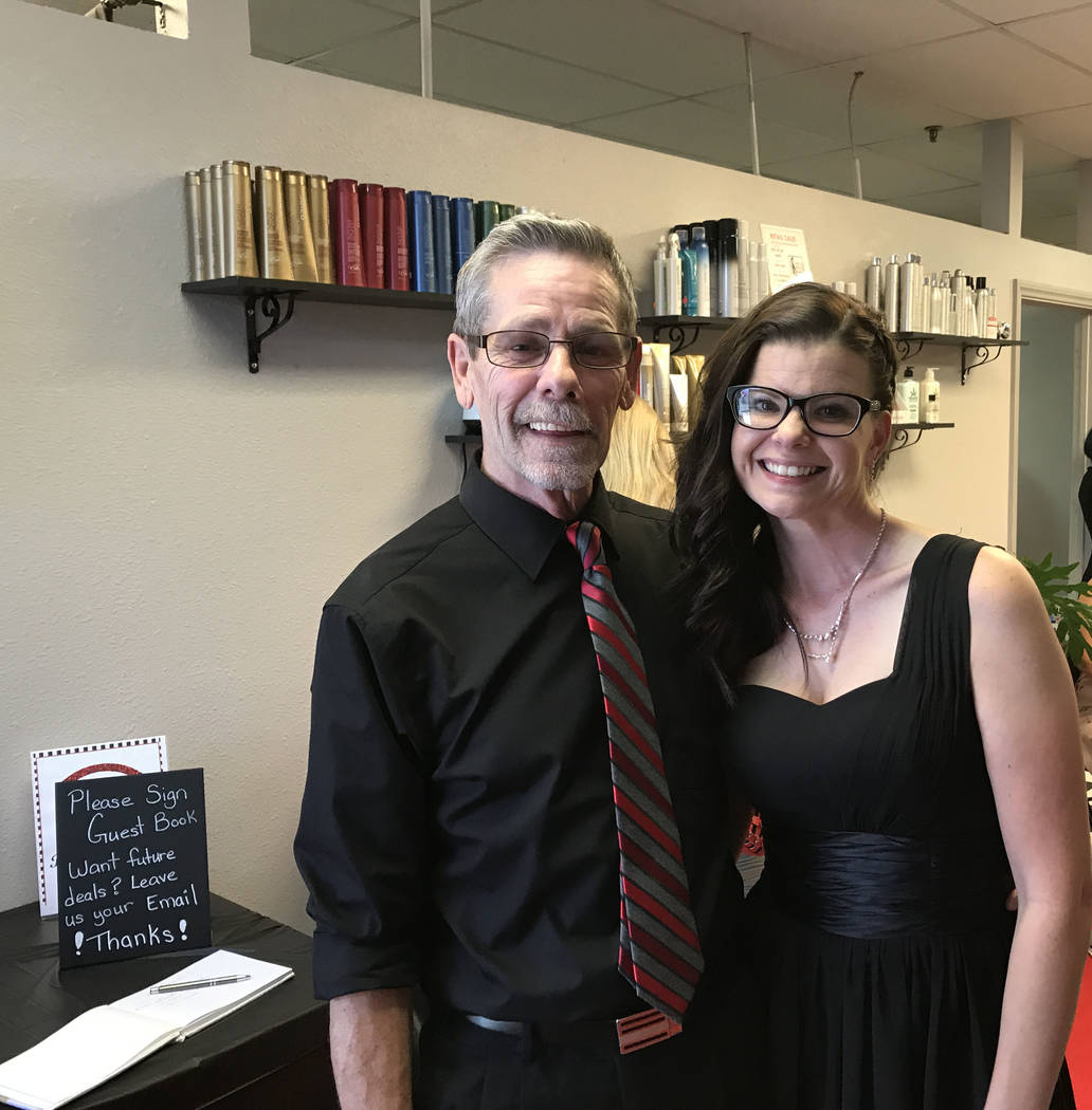Jeffrey Meehan/Pahrump Valley Times  Bob Paynter (left), and Barbara Higginbotham, (right) stand for a photo during their grand reopening celebration on Aug. 15, 2017 at Shear Image Salon at 2301  ...