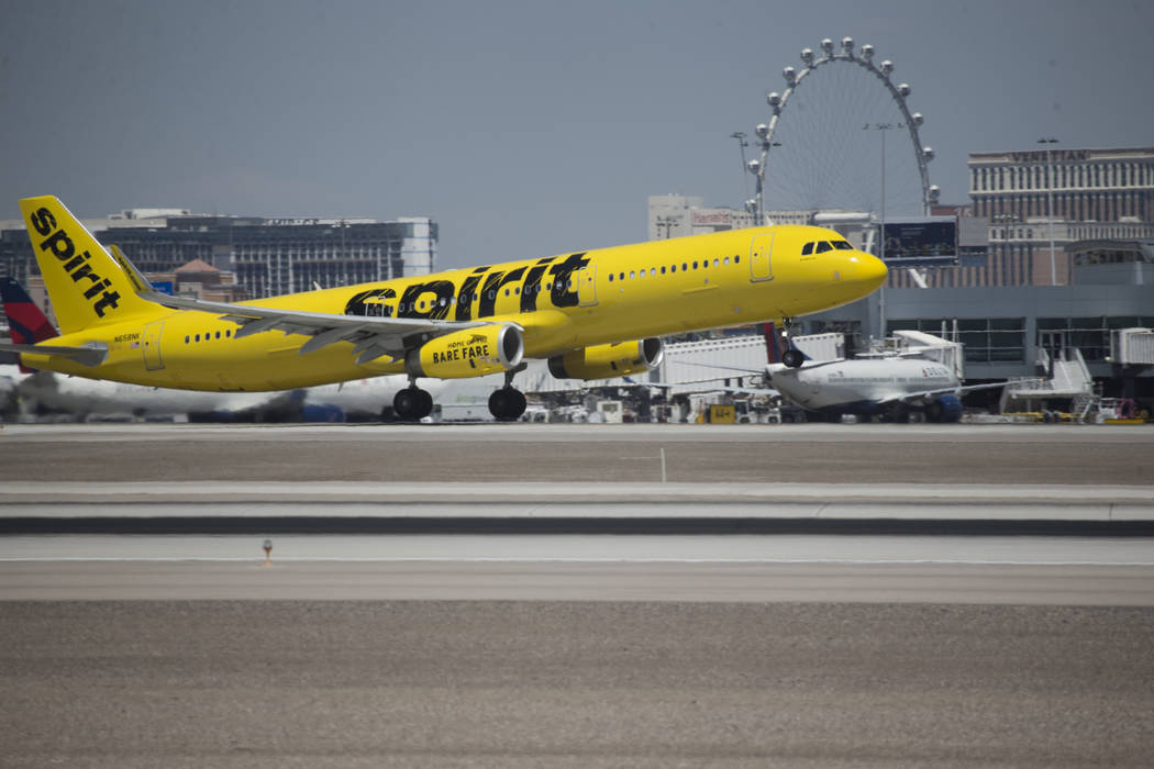 A airplane takes off from McCarran International Airport in Las Vegas on Wednesday, Aug. 9, 2017. (Erik Verduzco/Las Vegas Review-Journal) @Erik_Verduzco