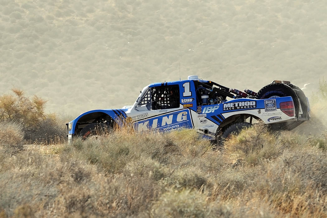 Jason Voss, the winner of Vegas to Reno in his No. 1 King Shocks truck outside of Beatty traveling near full speed. Voss won his fourth Vegas to Reno race in five years. He should be appearing in  ...