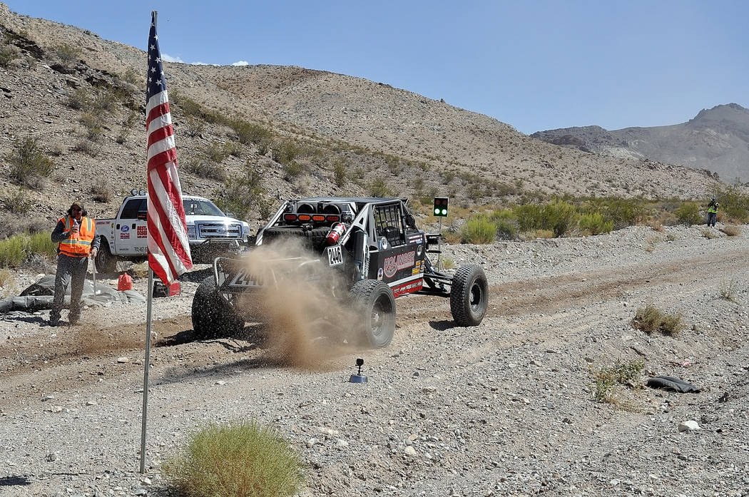 Horace Langford Jr./Pahrump Valley Times  A Vegas to Reno UTV starts at the starting line for the race in Beatty. The town of Beatty was slammed by thousands of racers and their support crews. The ...
