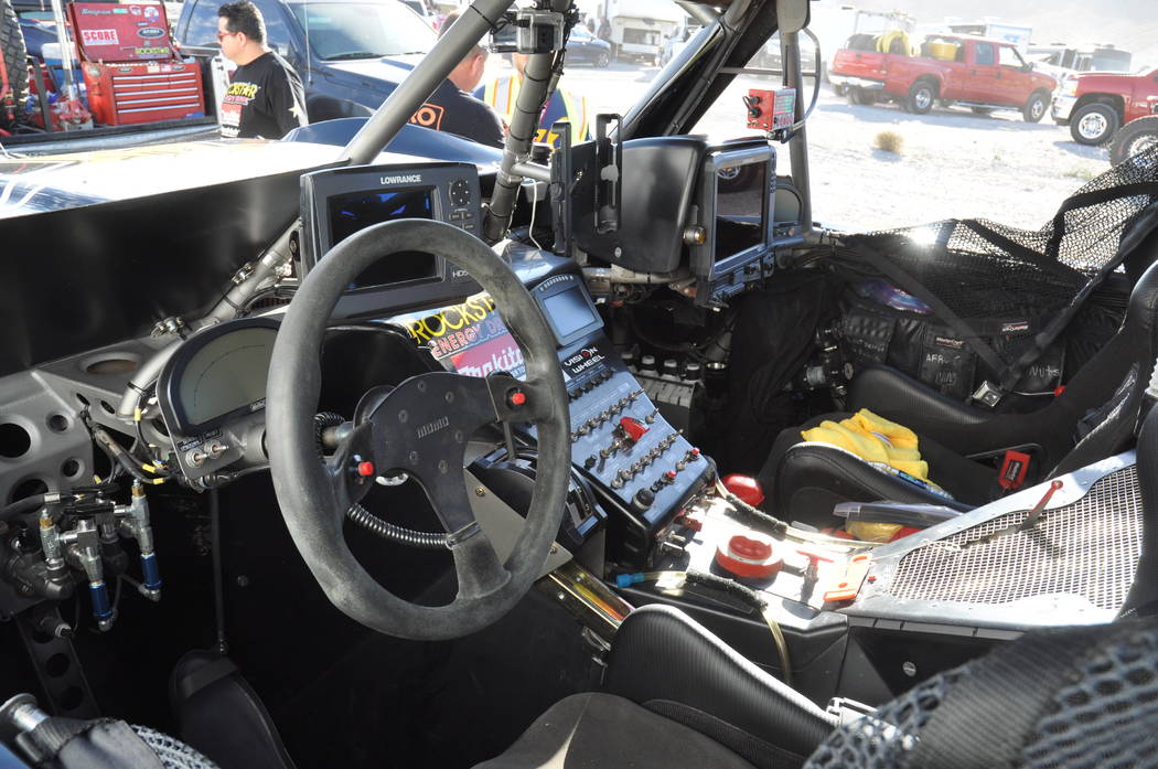 Horace Langford Jr./Pahrump Valley Times  The cockpit of Rob MacCachren's Trick Truck on race day. The inside looks more like a jet cockpit than it does a race truck.