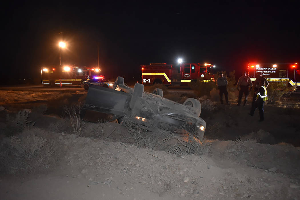 Special to the Pahrump Valley Times Fire crews were dispatched to for an injury motor vehicle accident in the area of Interceptor Street and Highway 160 on Sunday evening. A Nye County Sheriff's d ...