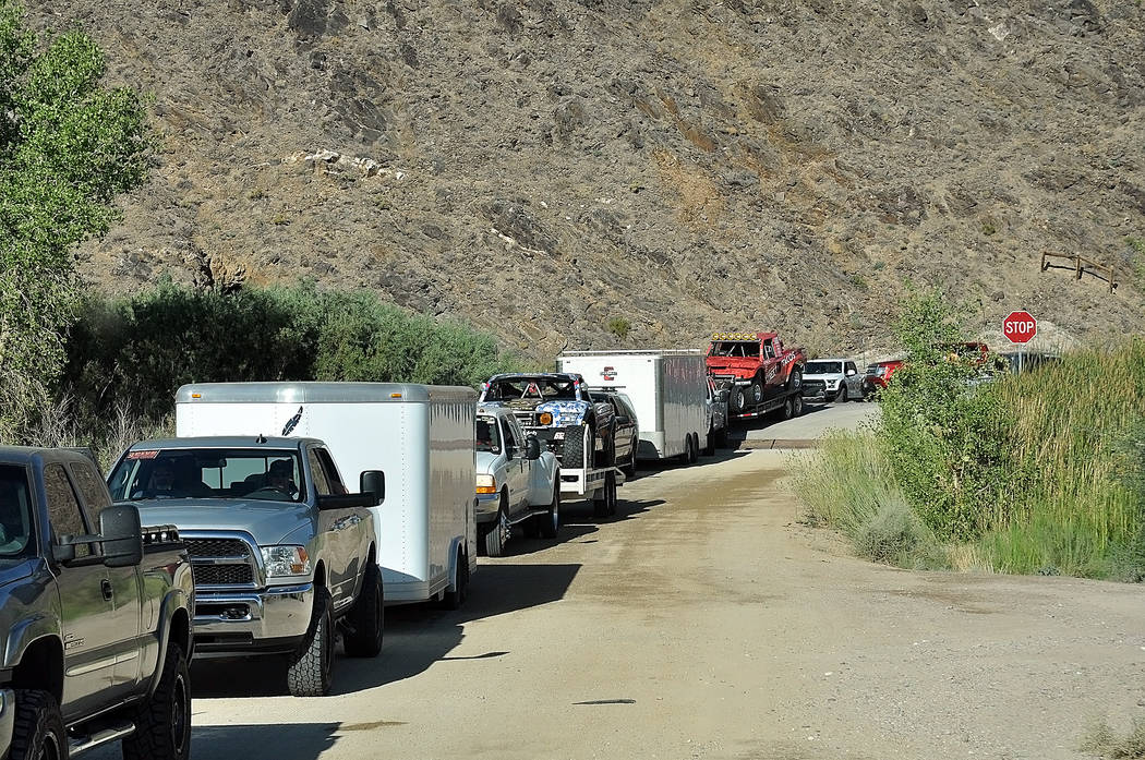 Horace Langford Jr./Pahrump Valley Times -  Vegas to Reno log jam at Highway 95 and Flourspar Road. The traffic jam was from 5 a.m. until around 11 a.m.