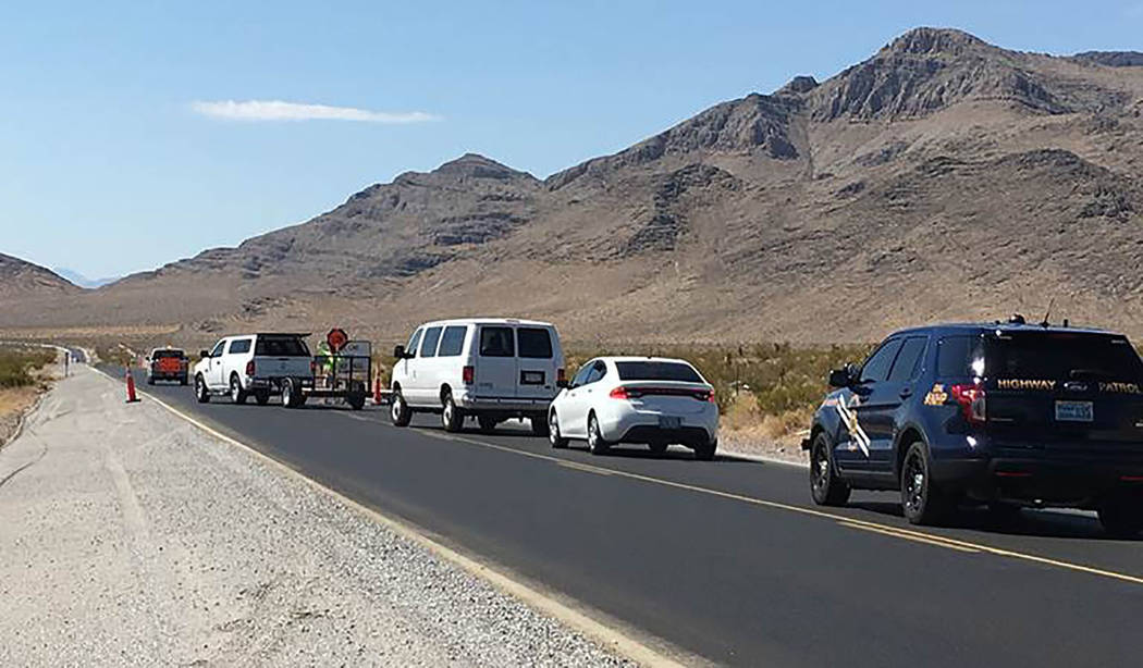 Nevada Department of Transportation Traffic restrictions are required as part of $8.7 million of improvements to a 14-mile section of Highway 160 between East Basin Avenue to just north of Bell Vi ...