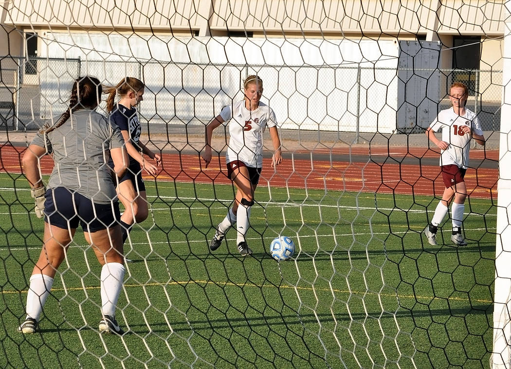 Horace Langford Jr./Pahrump Valley Times Senior Sydney Dennis just before she scores a goal against Somerset-Sky Pointe in the first half. Dennis had two goals and an assist in the game.