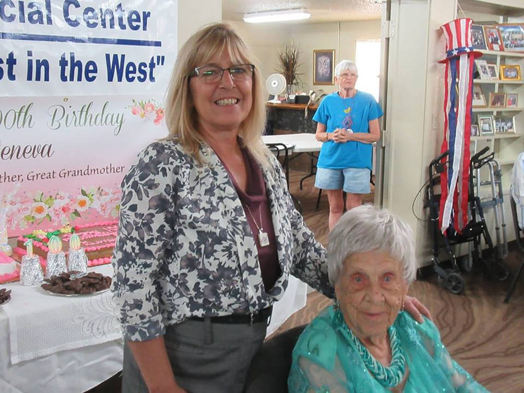 Special to the Pahrump Valley Times  Nye County District Attorney Angela Bello offered bithrday greetings to Geneva Dulaney. Bello was one of several elected officials to wish Dulaney a happy 100t ...