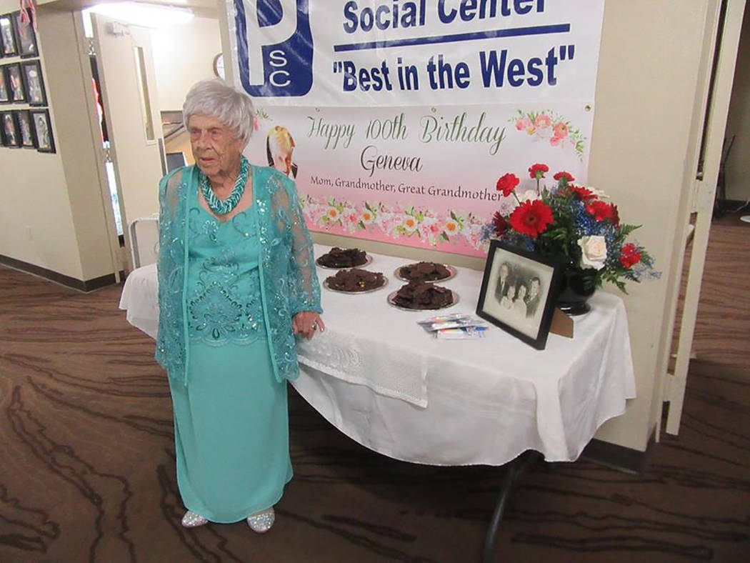 Special to the Pahrump Valley Times  100 year-old Pahrump resident Geneva Dulaney was the guest of honor during her 100th birthday party at the Pahrump Senior Center on July 24. Dulaney was born o ...