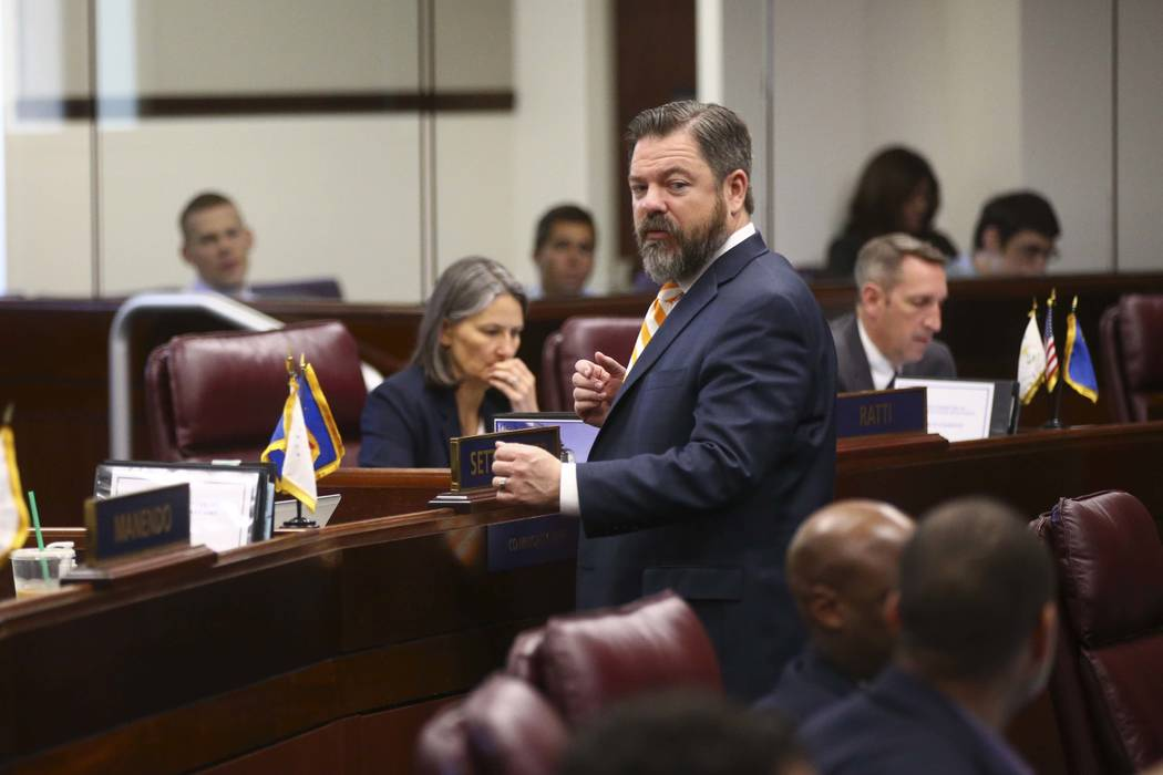 Senate Minority Leader Michael Roberson, R-Henderson, during the Nevada Legislature in Carson City on Sunday, June 4, 2017. Roberson announced Monday, Aug. 21, 2017, that he is running for lieuten ...
