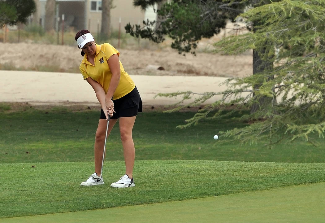 Horace Langford Jr./Pahrump Valley Times Junior Makalea Petrie's short game was looking great against Bishop Gorman last Wednesday as she is seen here chipping the ball onto the green. This ball ...