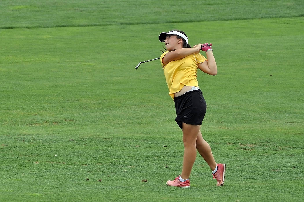 Horace Langford Jr./Pahrump Valley Times Freshman Breanne Nygaard as seen on the fairway at Mountain Falls when the team went up against Bishop Gorman on Wednesday. Nygaard posted a 12-above-par 84.
