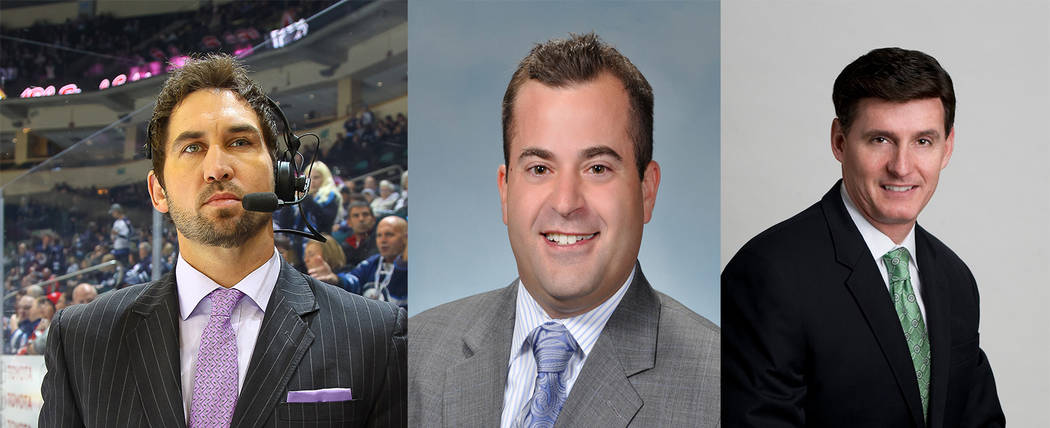 Golden Knights  Shane Hnidy (left), Dan D'Uva (middle) and Dave Goucher (right) were hired as the Las Vegas Golden Knights' new broadcasters for the new hockey team. Dave Goucher will serve as ...