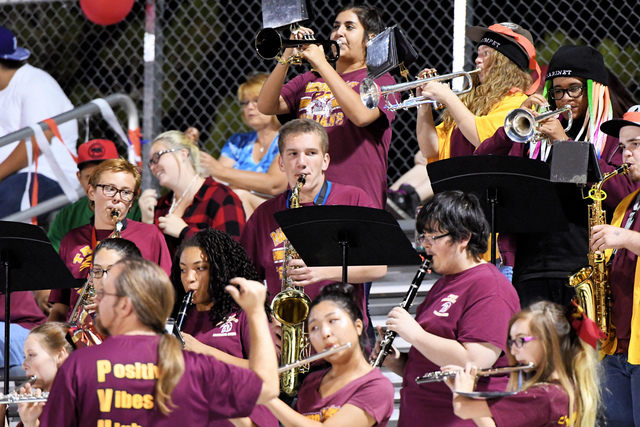 Peter Davis/Special to the Pahrump Valley Times The Trojans marching band as shown in a 2016 file photo. This year's band members are all set for this evening's game against Durango High School.