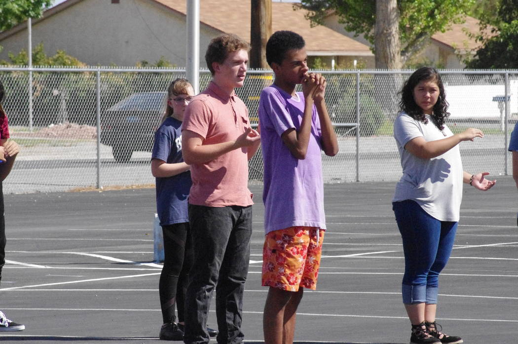 Vern Hee/Pahrump Valley Times Band practice at the high school parking lot during the first week of school. In the back is Janae Goostree. In front of her from left to right: Lloyd Herndon, Matthe ...