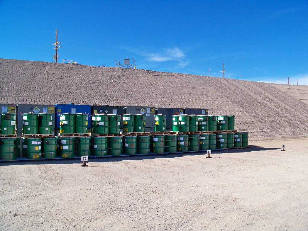 Spcial to the Pahrump Valley Times  Mixed low-level waste packages disposed in cell 18 at the Nevada National Security Site. Officials said that the disposal of low-level waste from the energy and ...