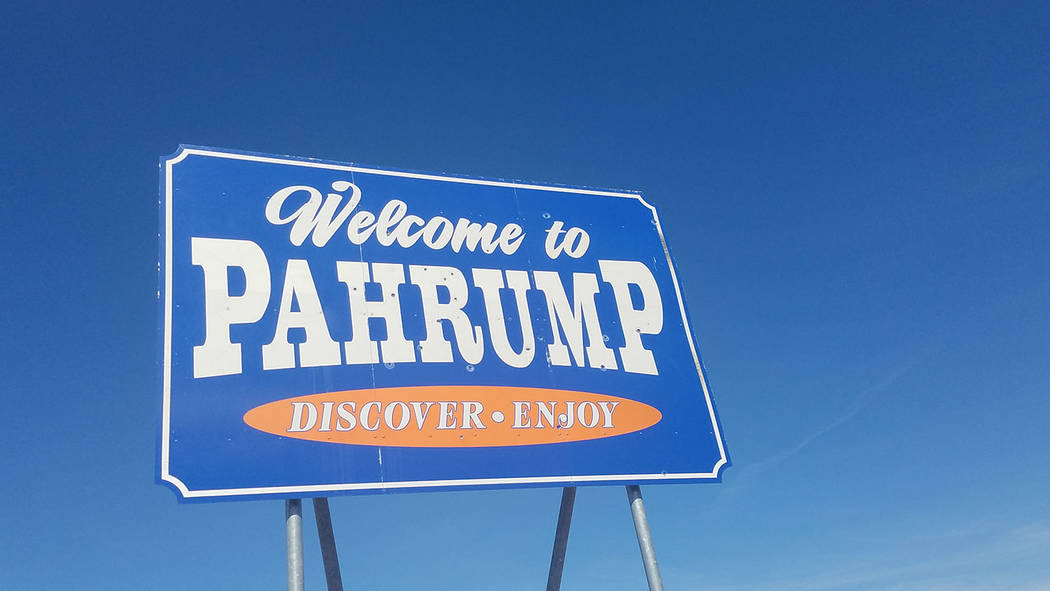 David Jacobs/Pahrump Valley Times A sign welcomes visitors to Pahrump along Highway 372. The town offers numerous entertainment opportunities.