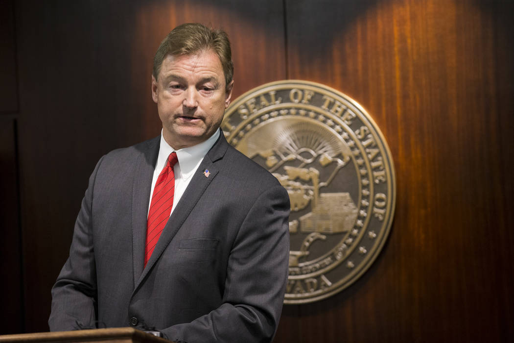 Erik Verduzco/Las Vegas Review-Journal U.S. Sen. Dean Heller, R-Nevada, as shown in a file photo earlier this year. He praised applauded President Donald Trump for signing a bill to help Nevada ve ...