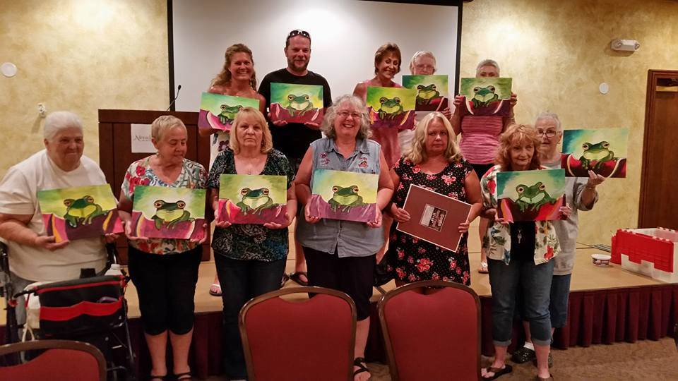 Laurie McCaslin/Special to the Pahrump Valley Times Attendees of the Cocktails and Canvas event at Nevada Treasure RV Resort at 301 W. Leslie St. hold their painting of Prince Charming. A monthly  ...