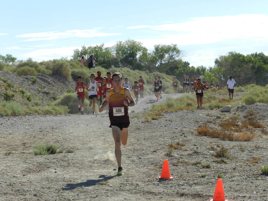 Special to the Pahrump Valley Times Bryce Odegard seen clearly out front during the Red Rock Invitational on Saturday morning. The Pahrump boy's team finished in fourth place for the day.