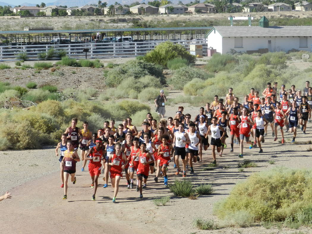 Special to the Pahrump Valley Times At the head of the large pack is senior Bryce Odegard, far left. Odegard posted the fastest time for the boys at 15:36 for the 3-mile course at the Red Rock Inv ...