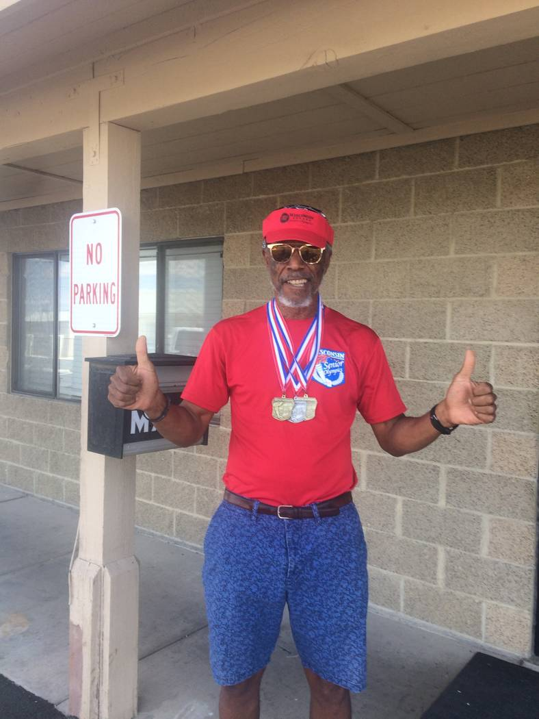 Vern Hee/Pahrump Valley Times Marvin Caperton, a senior Pahrump athlete, won some gold in Wisconsin on Aug. 20 at the Wisconsin Senior Olympics.