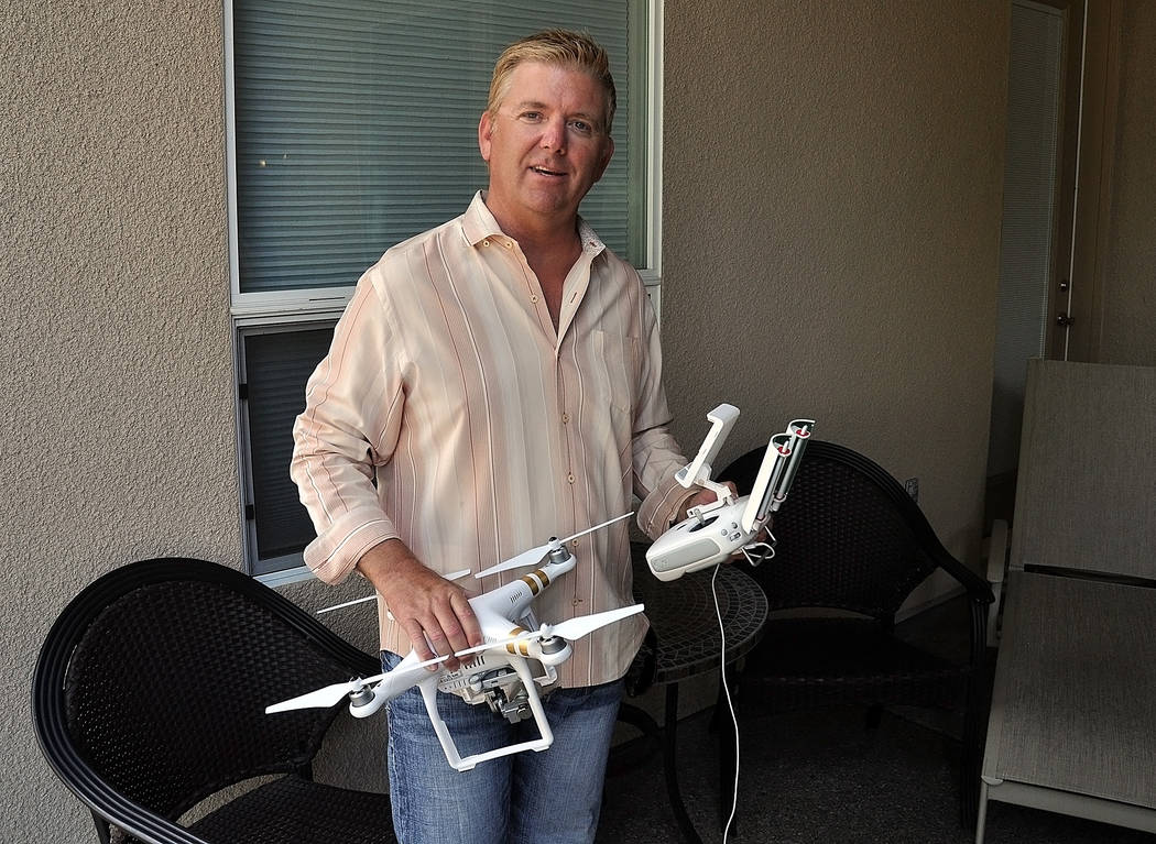 Horace Langford Jr./Pahrump Valley Times -  Ronald Boskovich, a Pahrump resident operates his drone under U.S. Drone Services, at usdroneservices.org, the first Pahrump drone service that offers c ...