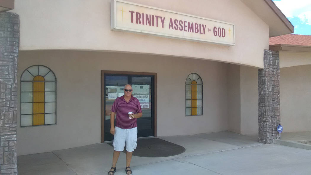 Selwyn Harris/Pahrump Valley Times  Pastor Gary Senff of Trinity Assembly of God Church on Big Five Road said his congregation will meet at the Bob Ruud Community Center after a fire caused extens ...