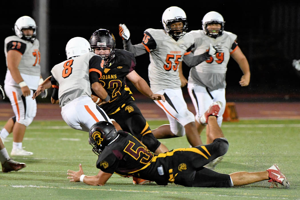 Peter Davis/Special to the Pahrump Valley Times Jeremy Albertson gets a sack against Chaparral last year. He had at least one against Durango last week. Expect Albertson to come alive this game.