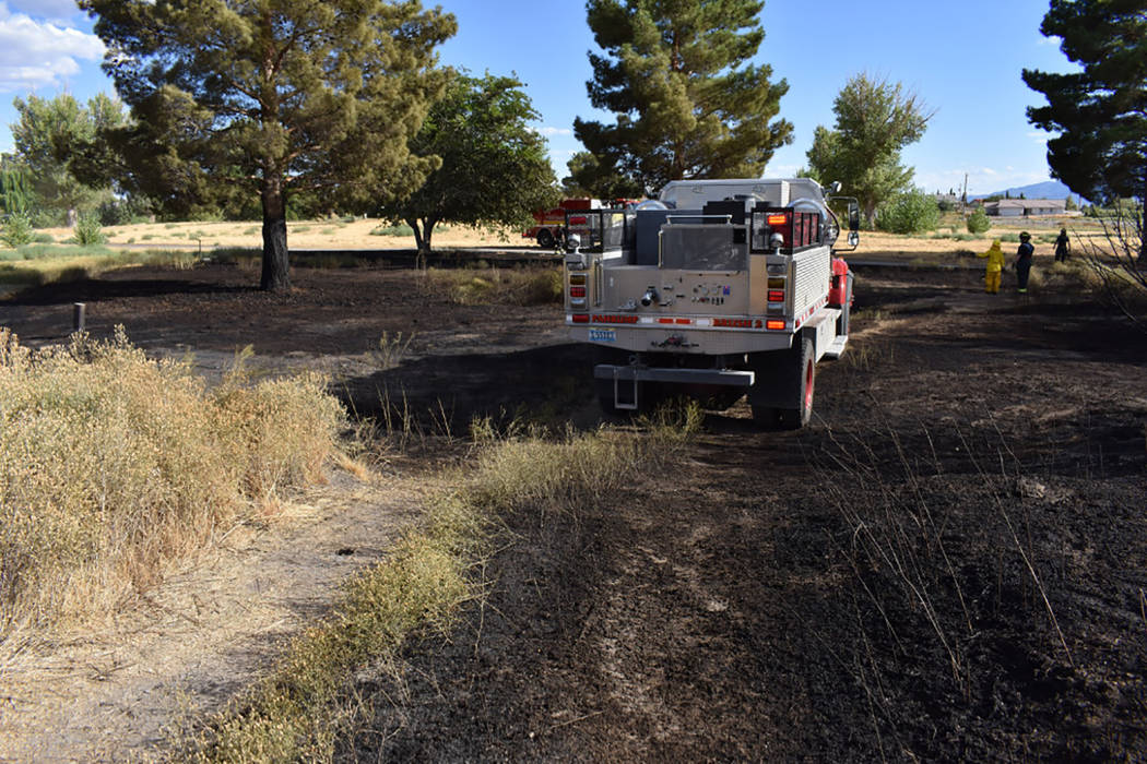 Special to the Pahrump Valley Times Fire crews quickly extinguished an approximate one-acre brush fire along the 900 block of East Bourbon Street on Saturday August 26, just before 4 p.m. Crews we ...