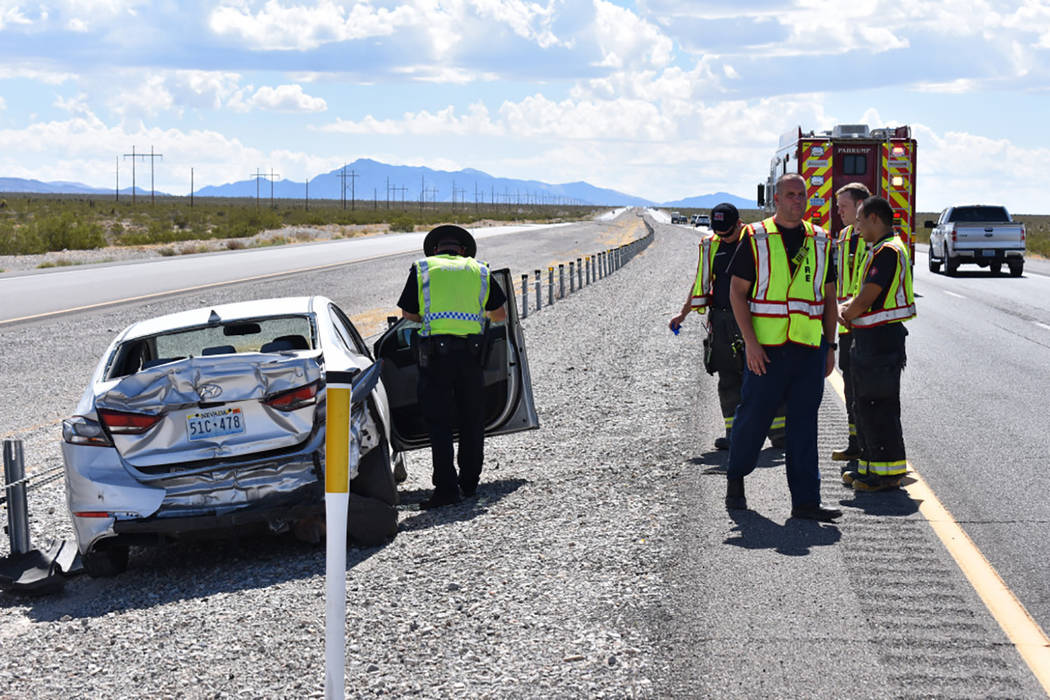 Special to the Pahrump Valley Times  Emergency crews responded to a two-vehicle collision involving a semi along south Highway 160 at the Trout Canyon turnoff on Wednesday, August 23, just after 2 ...