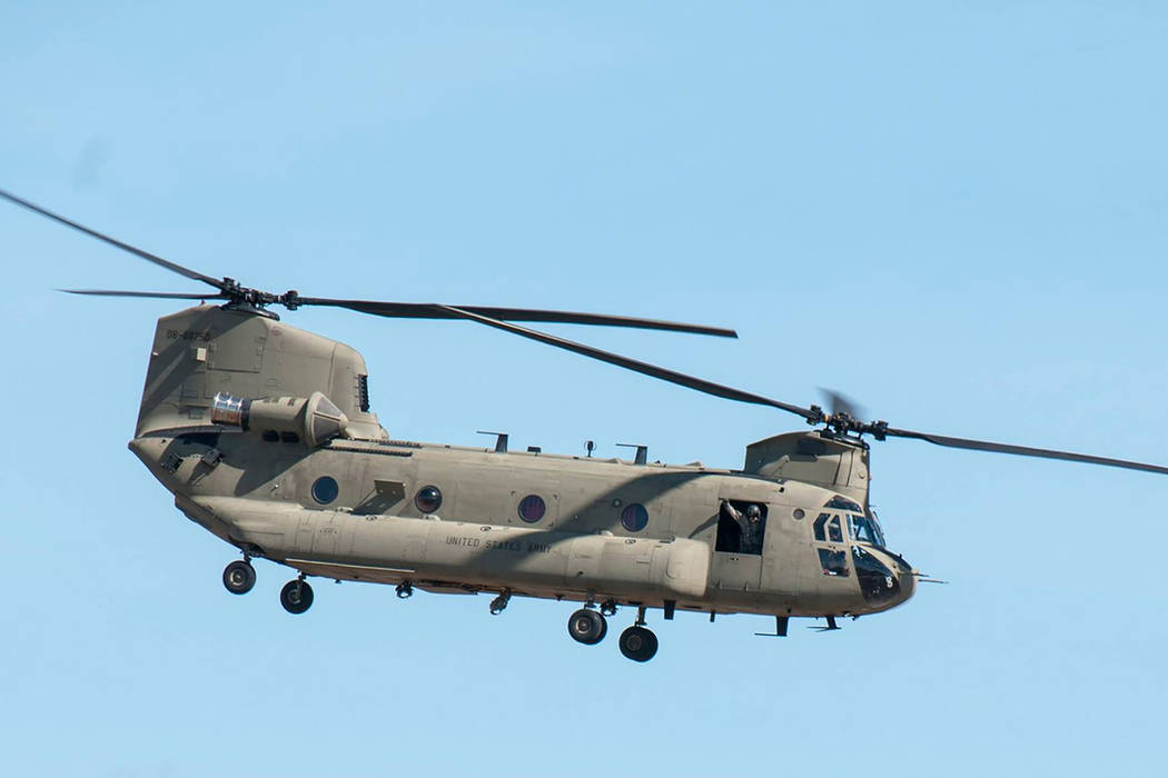 Nevada Army National Guard A Nevada Army Guard CH-47 Chinook. The Nevada Guard is sending a Chinook and crew to Texas to do search and rescue operations in the flooded Houston area