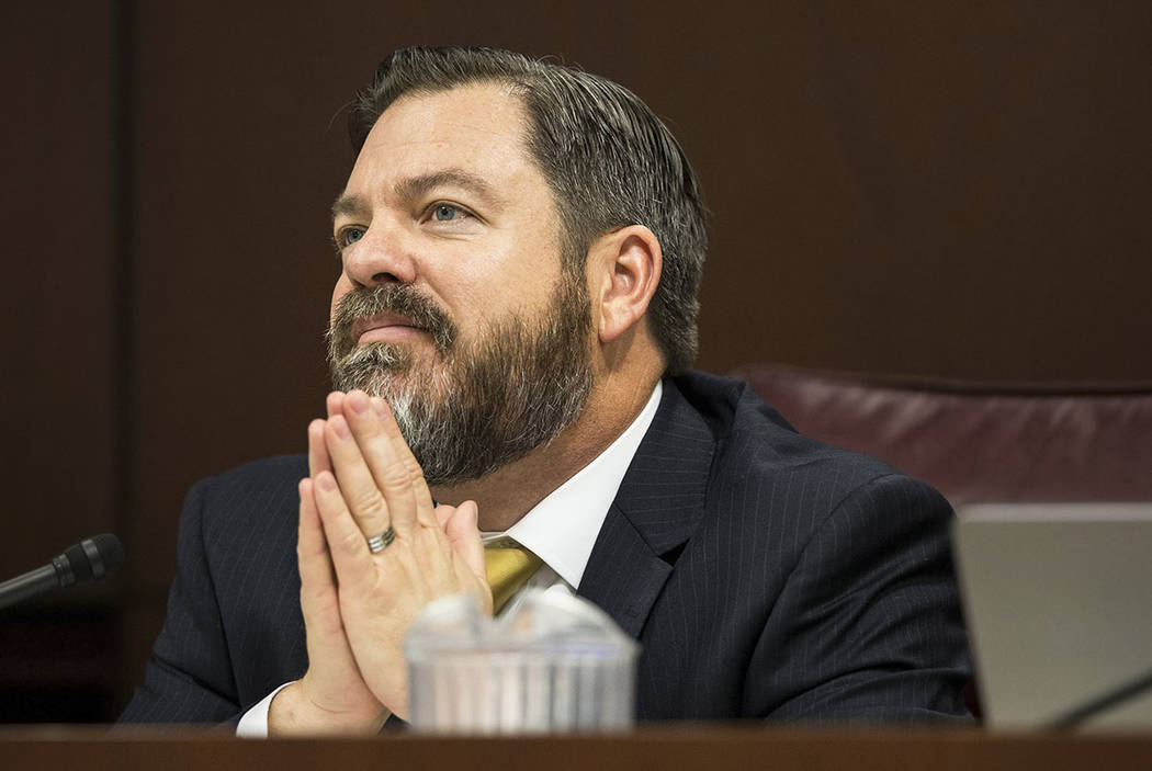 Benjamin Hager/Las Vegas Review-Journal Senate Minority Leader Michael Roberson, R-Nev., listens to a colleague speak during the second day of the Nevada Legislative session on Tuesday, Feb. 7, 20 ...