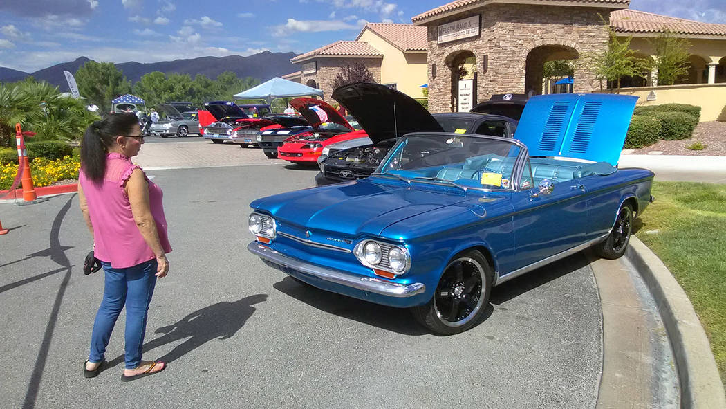 Selwyn Harris/Pahrump Valley  There was no shortage of cars and car enthusiasts during Saturday's Hot August Auto Show at Mountain Falls. Several dozen classic American and import cars were on dis ...