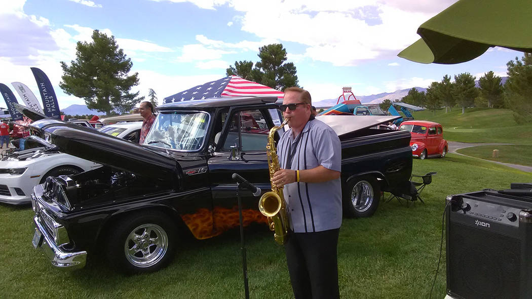 """Selwyn Harris/Pahrump Valley Times Live entertainment was provided throughout the afternoon by saxophonist """"Downtown"""" Michael Brown, of Sha Na Na fame. Participants were treated to a free barb ..."""